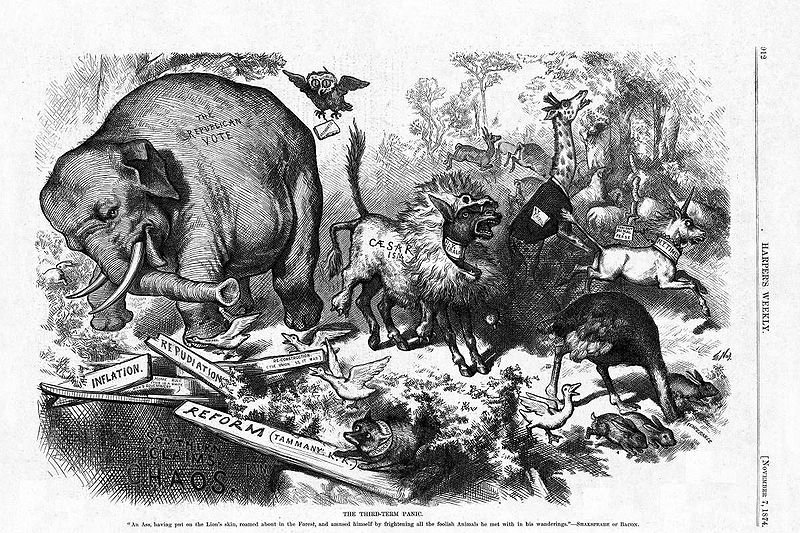 1874 Thomas Nast cartoon featuring the first notable appearance of the Republican elephant