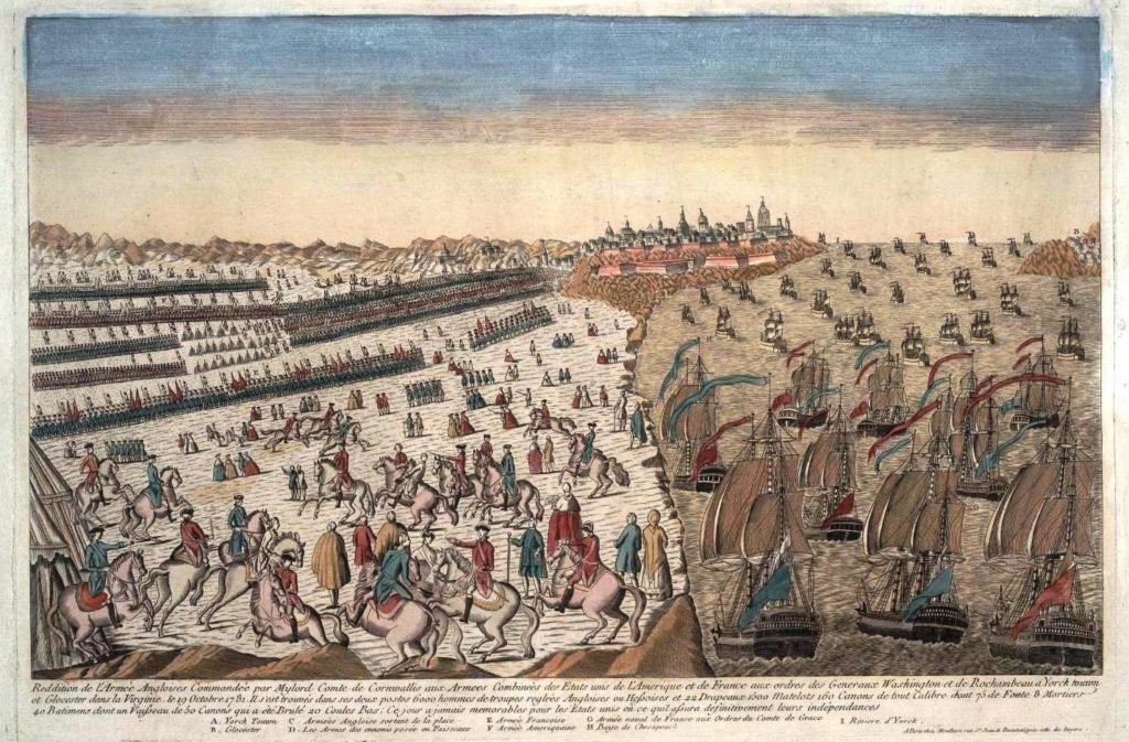 Reddition_armee_anglaise_a_Yorktown_1781_avec_blocus_naval