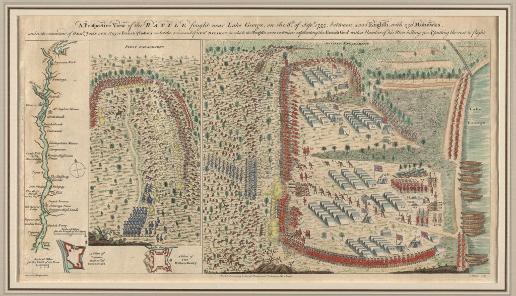 Samuel Blodget (1724-1807) A Prospective View of the Battle Fought near Lake George. London, 1756. Engraving, hand colored, 10.5 x 20.5 inches. Courtesy of Richard H. Brown Collection.