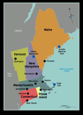 New England Map - Ben Franklin\'s World