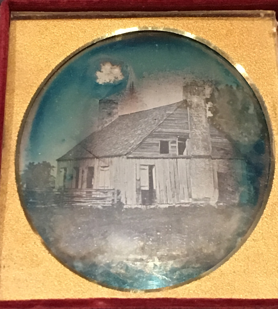 Francis Parkman Photographs. Campau Family House, ca. 1840. Photographer Unknown. Hand-colored sixth-plate daguerreotype in leather case. Courtesy of Massachusetts Historical Society